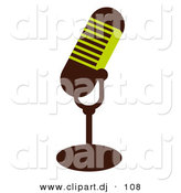 Vector Clipart of a Green and Brown Mic by OnFocusMedia
