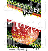 Vector Clipart of a Green Disco Party Background with a Sparkly Ball and Dancing Feet by MilsiArt