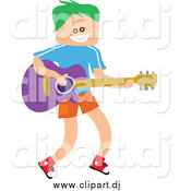 June 7th, 2015: Vector Clipart of a Green Haired White Square Head Boy Playing a Guitar by Prawny
