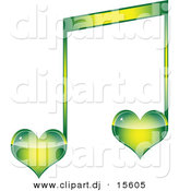 Vector Clipart of a Green Love Heart Music Note by Andrei Marincas