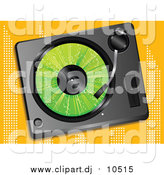 Vector Clipart of a Green LP Record Playing in a Record Player over an Orange Background by Elaineitalia