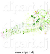 Vector Clipart of a Green Music Notes, Pink Flowers and Vines by Pushkin