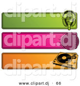 Vector Clipart of a Green, Pink and Orange Retro Website Headers; Microphone, Disco Ball and Record Player by Elena