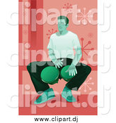 Vector Clipart of a Green Toned Man Sitting and Playing Bongo Drums, over Pink by Mayawizard101