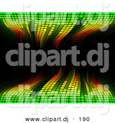 Vector Clipart of a Green Waving Equalizer over Black Background by AtStockIllustration