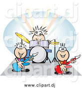 Vector Clipart of a Group of Musicians Playing the Drums and Guitars at a Rock Concert by David Rey