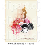 Vector Clipart of a Grunge Floral, Speaker, Urban City Girl Music Background by Anja Kaiser