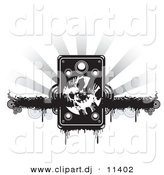 Vector Clipart of a Grunge Speaker over Black Dripping Bar with Circles, on a Bursting Grayscale Background by Alexia Lougiaki