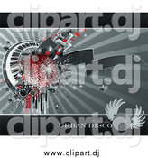 Vector Clipart of a Grungy Background of Drips, Speakers, Stars, Keyboards and a Red Disco Ball over Gray by Elena