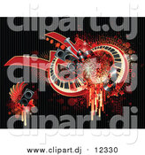 Vector Clipart of a Grungy Background of Splatters, Drips, Speakers, Wings, Stars, and Keyboards on Black by Elena