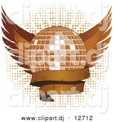 Vector Clipart of a Grungy Disco Ball with Wings and a Blank Banner over Halftone on White by Elaineitalia