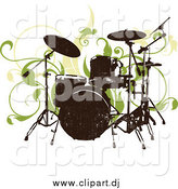 Vector Clipart of a Grungy Drum Set and Green Vines on a White Background by OnFocusMedia