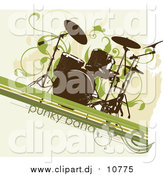 January 16th, 2016: Vector Clipart of a Grungy Drum Set over a Beige Background with Green Lines and Vines by OnFocusMedia