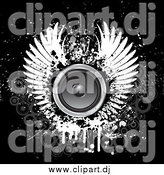 Vector Clipart of a Grungy White Wings Around a Circle Speaker on a Black Background with Faded Gray Circles by KJ Pargeter