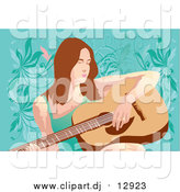 Vector Clipart of a Guitarist Woman by Mayawizard101