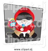 Vector Clipart of a Hamster in Clothes, Sitting and Singing into a Microphone with a Boombox by Vitmary Rodriguez