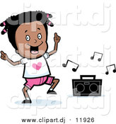 September 24th, 2016: Vector Clipart of a Happy Black Girl Dancing to Music Box - Cartoon Style by Cory Thoman