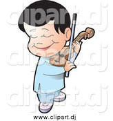 Vector Clipart of a Happy Black Haired Boy Playing a Violin by Lal Perera
