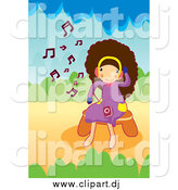 Vector Clipart of a Happy Brunette Girl Listening to Music by Mayawizard101