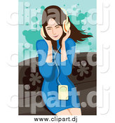 Vector Clipart of a Happy Brunette White Woman Listening to Music by Mayawizard101