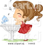 Vector Clipart of a Happy Cartoon Blue Bird Singing to a Girl Listening and Leaning Against a Bird Bath by BNP Design Studio