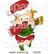 Vector Clipart of a Happy Cartoon Christmas Baby Running with a Trumpet by BNP Design Studio