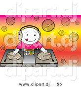 Vector Clipart of a Happy Cartoon DJ Kid Mixing Dual Records on a Turntable by Pauloribau