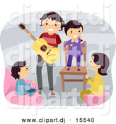 Vector Clipart of a Happy Cartoon Father Playing a Guitar Around Singing Kids by BNP Design Studio