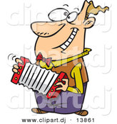 Vector Clipart of a Happy Cartoon Man Playing Accordion While Grinning by Ron Leishman