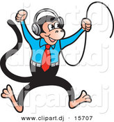 Vector Clipart of a Happy Cartoon Monkey Dancing to Music in His Headphones by Lal Perera