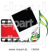 Vector Clipart of a Happy Cartoon Music Note Beside Film Strip and Polaroid Photograph by Andrei Marincas