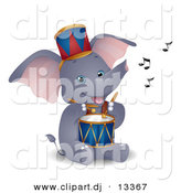 Vector Clipart of a Happy Circus Elephant Playing Drum - Cartoon Version by BNP Design Studio