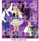 Vector Clipart of a Happy Couples Dancing to Polka Music and an Accordian Man on Purple by Inkgraphics