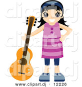 Vector Clipart of a Happy Girl Standing Beside Her Guitar - Cartoon Styled Design by BNP Design Studio