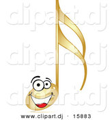 Vector Clipart of a Happy Gold Cartoon Music Note Smiling by Andrei Marincas