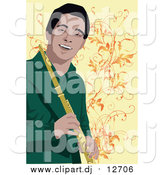 August 28th, 2015: Vector Clipart of a Happy Male Flute Player by Mayawizard101