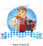 Vector Clipart of a Happy Oktoberfest Man Playing an Accordion over Rays by Pushkin