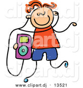 August 7th, 2015: Vector Clipart of a Happy Red Haired Caucasian Boy Listening to an Ipod by Prawny
