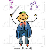 Vector Clipart of a Happy Stick Boy Conductor by Prawny
