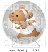 Vector Clipart of a Healthy Cartoon Hamster Running Within a Exercise Wheel While Listening to Music by BNP Design Studio