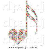 Vector Clipart of a Heart Shaped Love Music Note with National Flags by Andrei Marincas