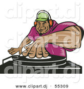 Vector Clipart of a Hispanic Cartoon Male Dj Mixing Records While Listening Through Headphones by Patrimonio