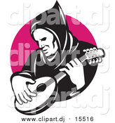 Vector Clipart of a Hooded Man Playing a Banjo over a Pink Circle by Patrimonio