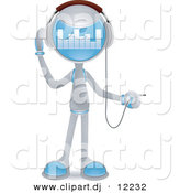 Vector Clipart of a Human-Like Robot Plugging in Headphones - Cartoon Styled Design by BNP Design Studio