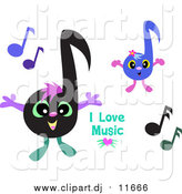 January 22nd, 2016: Vector Clipart of a I Love Music Greeting with Happy Notes by Bpearth