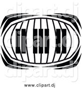 Vector Clipart of a Keyboard in Black and White by Vector Tradition SM