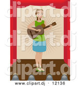 June 25th, 2017: Vector Clipart of a Lady Playing a Guitar on a Stage by Mheld