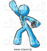 Vector Clipart of a Light Blue Man Dancing to Music by Leo Blanchette