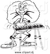 Vector Clipart of a Lineart Aussie Frill Neck Lizard Playing a Keyboard by Dennis Holmes Designs
