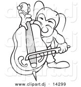 Vector Clipart of a Lineart Bug Playing a Bass by Dero
